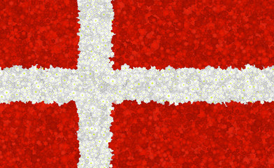 Graphic illustration of Danish flag with a flower pattern