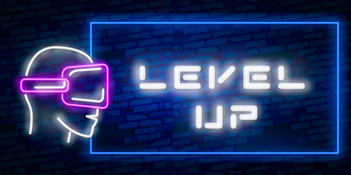 Level Up Neon Text Vector With Brick Wall Background. design template modern trend design night neon signboard night bright advertising light banner light art. Vector illustration
