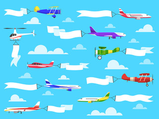 Banners with planes. Flying airplanes with banner in sky, helicopter with advertisement message on ribbons. Vector set