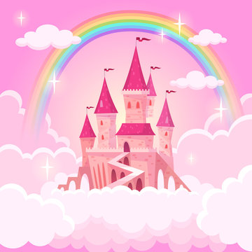Castle of princess. Fantasy flying palace in pink magic clouds. Fairytale royal medieval heaven palace. Cartoon vector illustration