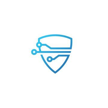 shield tech logo vector icon illustration