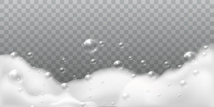 Soap foam. White bubbles of bath or laundry. Shampoo soap clean shiny bubbling. Washing hygiene detergent isolated vector illustration