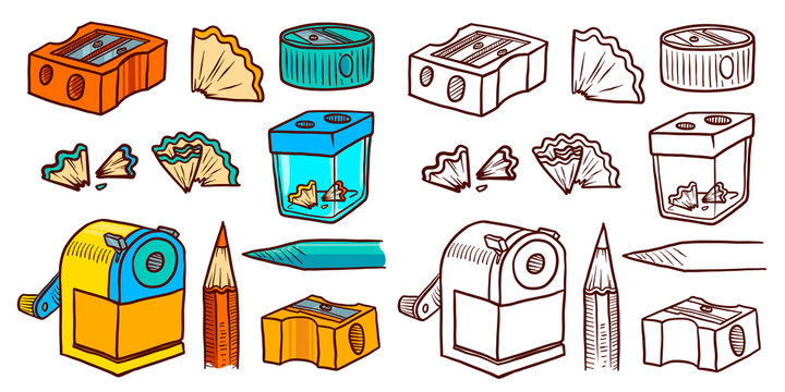 Hand Drawn Sharpener icon set. Doodle set of sharpener vector icons for web design isolated on white background