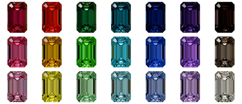 Set of multi colored emerald cut diamonds isolated on white background