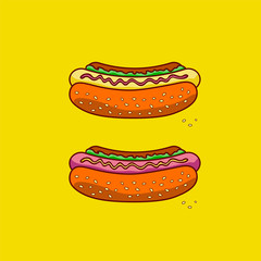 Two classic hot dog on a yellow  background.Fast food. Junk food. Vector illustration.