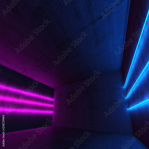 Colorful neon lights in empty room