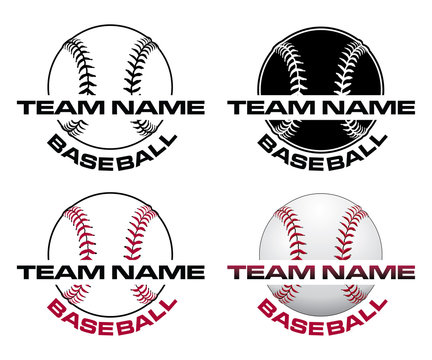 Baseball Designs With Team Name is an illustration of a four versions of a baseball design that can be used for t-shirts, flyers, ads or anything else you use to promote your team.