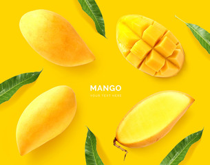 Creative layout made of mango. Flat lay. Food concept. Macro concept. Yellow background.