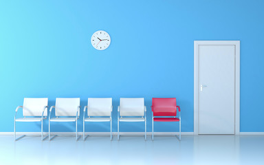 Blue waiting room with four white seats and one red seat, wall clock and white door