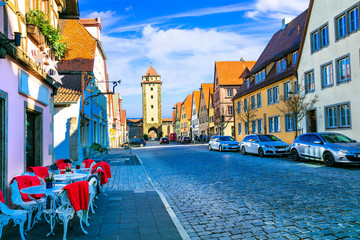 Fototapete - Traditional architecture of Germany. Streets of Rothenburg town.