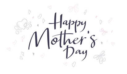 vector hand lettering happy mother's day phrase with doodle flowers and hearts
