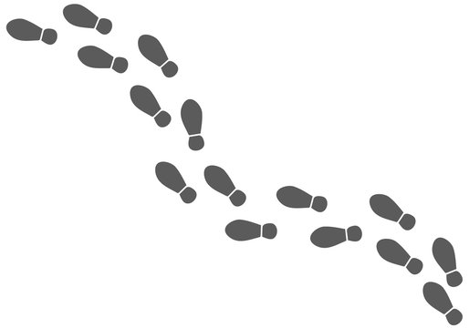 Vector shoe tracks footpath on white, stock illustration