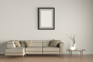 Posters in interior of living room with beige leather sofa, night lamp and branches in vase on wooden coffee table