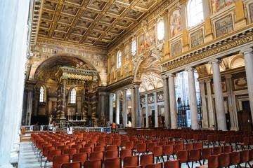 Panoramic view of interior of Basilica di Santa Maria Maggiore