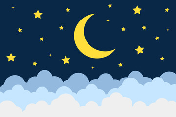Moon and stars background. Vector illustration.