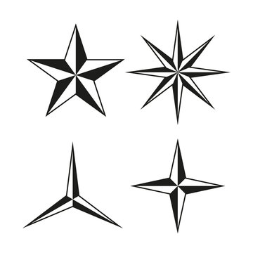 Set of  three, four, five and six poined stars. Vector. Isolated.