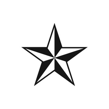Five pointed star. Vector illustration.