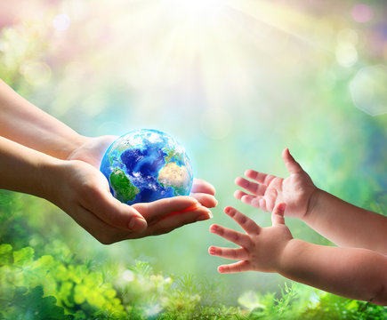 Mother Give Blue Earth In Daughter Hands - elements of this image furnished by NASA - 3d Rendering
