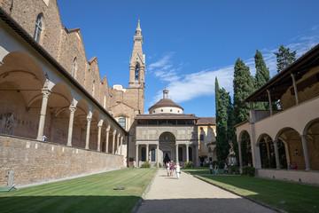 Panoramic view of inner garden of Basilica di Santa Croce