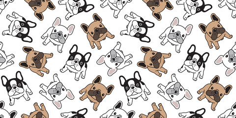 Dog seamless pattern french bulldog vector pet scarf isolated puppy cartoon illustration tile background repeat wallpaper
