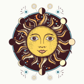 Medieval sun tattoo art. Moon phases. Sacred Geometry. Esotericl alchemical art