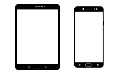 Black tablet and smartphone with white screen. Black tablet and smartphone vector eps10 set.