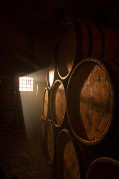 Barrel making workshop in old basement. Wine cellar.