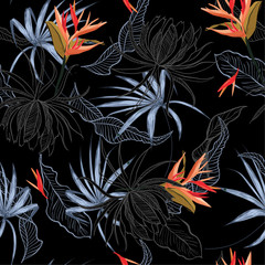 Color contrast bird of paradise and exotic flower and leaves Seamless Pattern line hand drawn style