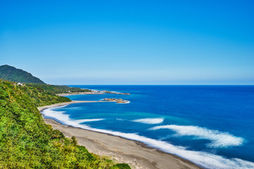 Beautiful landscape scenic of Jinzun long beach in Donghe city, eastern Taitung, Taiwan.
