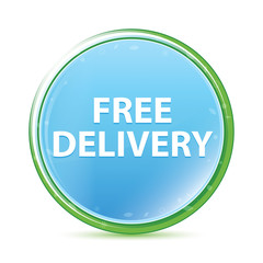 Free Delivery natural aqua cyan blue round button