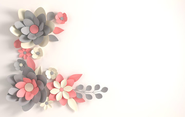 Paper pastel colored flowers on white background. Valentine's day, Easter, Mother's day, wedding greeting card. 3d render digital spring or summer flowers  illustration in paper art style.
