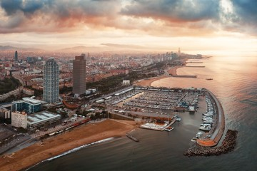 Wall Mural - Barcelona Coast aerial sunrise view
