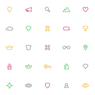 Icons archetypes signs symbols seamless vector background. Set of icons. Minimal style, thin outline. Web icons. Vector
