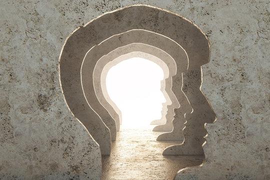 Abstract man head corridor