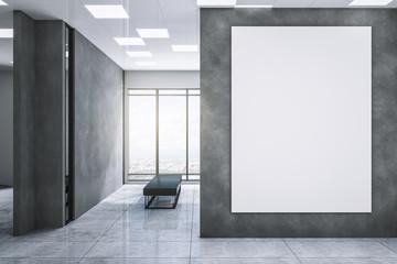 Fototapeta Clean exhibition hall with white billboard obraz