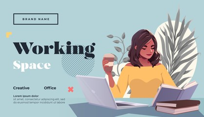 Working space Landing page template. Young female freelancer is sitting in modern hipster cafe at the table with laptopn and take away coffee. Vector illustration