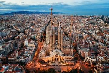 Sagrada Familia aerial view Wall mural