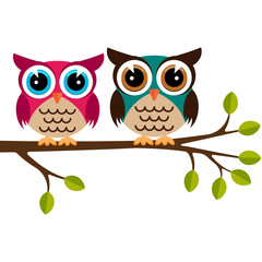 Two colorful owls on a branch