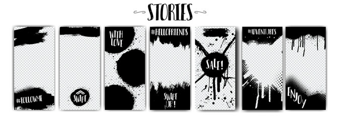 Keuken foto achterwand Graffiti Social network stories templates on Black Friday and more.Spray graffiti, black splashes isolated on transparent background. Mock up stories grunge. fashion, interior design, photographer, blogger ets