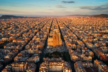 Fotobehang Barcelona Sagrada Familia aerial view