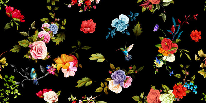 Wide vintage seamless background pattern. Rose, peony, poppy with humming birds around on black. Abstract, hand drawn, vector - stock
