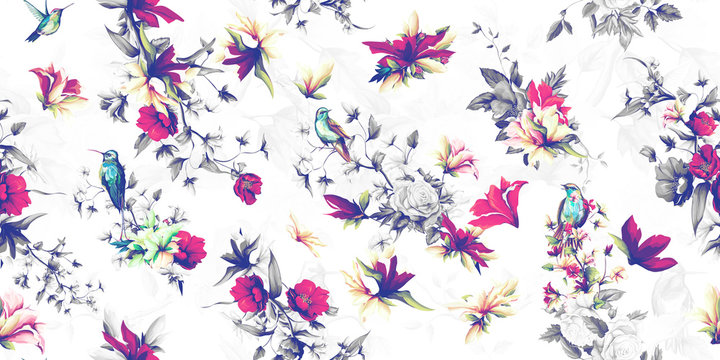 Wide vintage seamless background pattern. Flowers wild rosemary, pomegranate buds with humming bird and nightingale. Abstract, hand drawn, vector - stock.