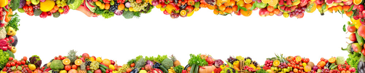 Wide panoramic frame of fresh vegetables and fruits isolated on white