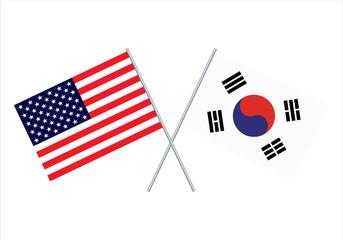 American and South Korea flag. Usa flag and south korea flag vector eps10
