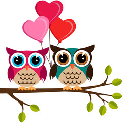 two colorful owls with heart balloons