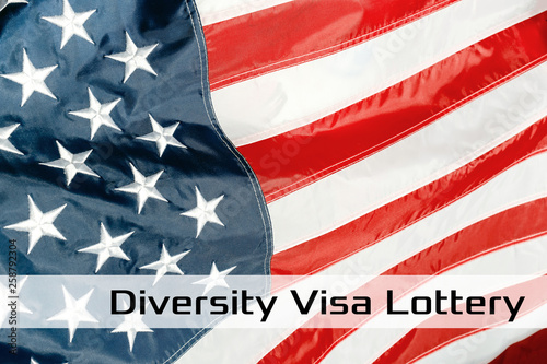 Green Card on a USA flag background  United States of