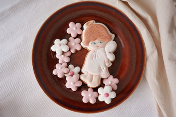 Ginger cookies on brown ceramic plate