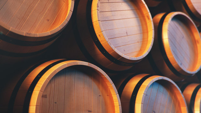 Wine, whiskey, rum, beer, barrels backgorund. Alcoholic drink in wooden barrels such as wine, cognac, rum, brandy, 3D illustration