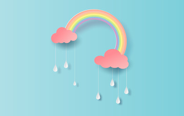 illustration of Rainbow in the rainy season. Paper cut design for clouds and rainbow in rain time.Creative idea paper craft by pastel color clean and minimal style on blue background. vector. EPS10.