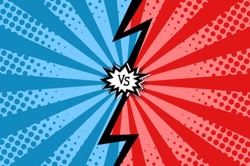 Vector comic book style background. Template with versus logo